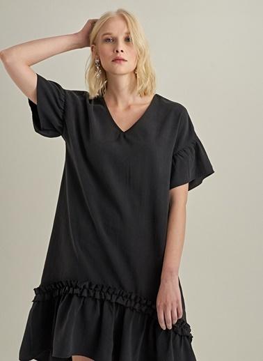 NGSTYLE Liyosel V Yaka Elbise Siyah